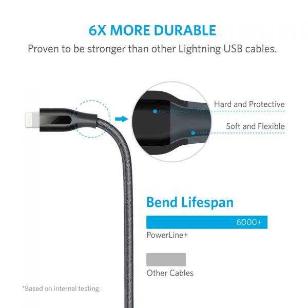کابل مقاوم در برابر خمش انکر PowerLine+ 6ft Lightning