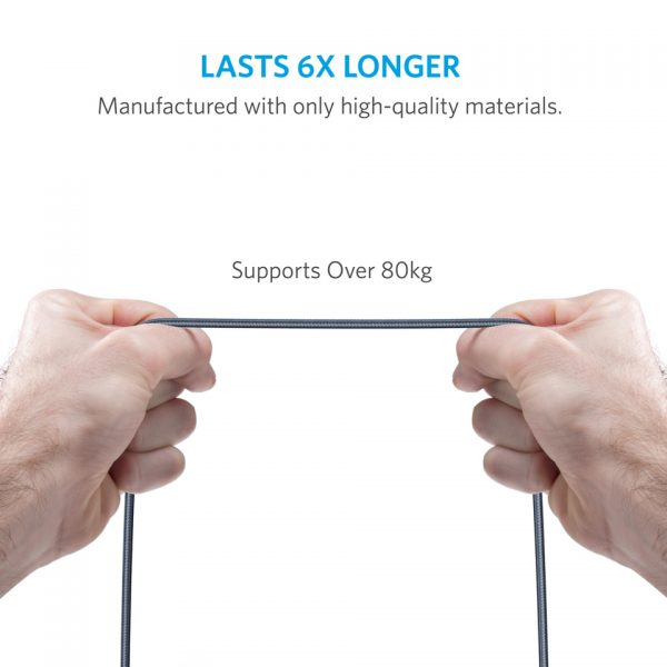 مقاومت کشیدگی کابل انکر anker PowerLine+ 6ft Lightning