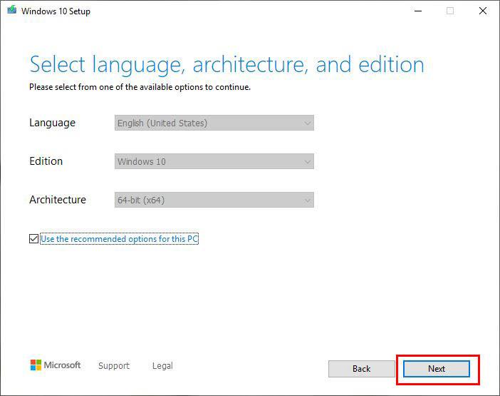 انتخاب نسخه 32 یا 64 بایتی ویندوز 10 در حین دانلود