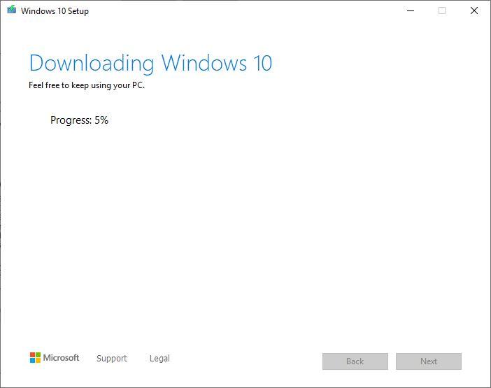 زمان مورد نیاز برای دانلود ویندوز 10 از مایکروسافت