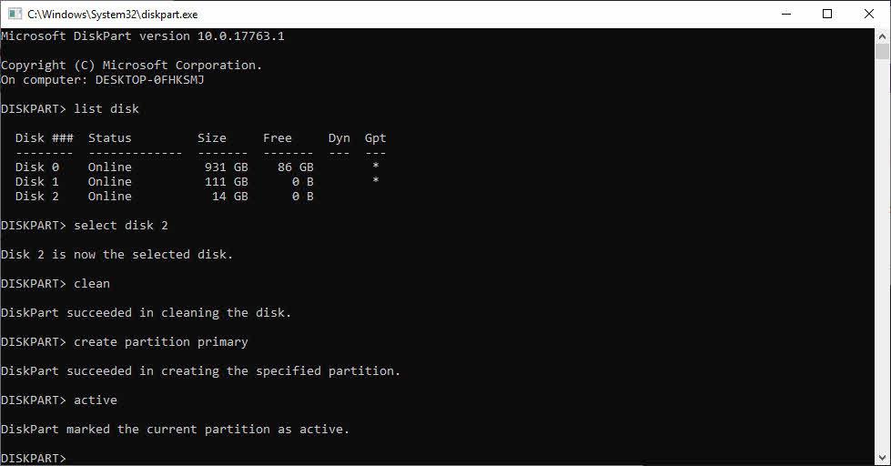 اکتیو کردن پارتیشن برای نصب ویندوز 10 با فلش درایو